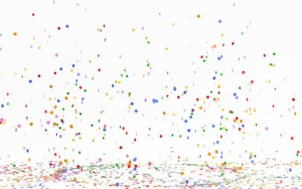 colorful confetti falling on white - confetti stock pictures, royalty-free photos & images