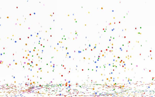 beyaz düşen renkli konfeti - confetti stok fotoğraflar ve resimler