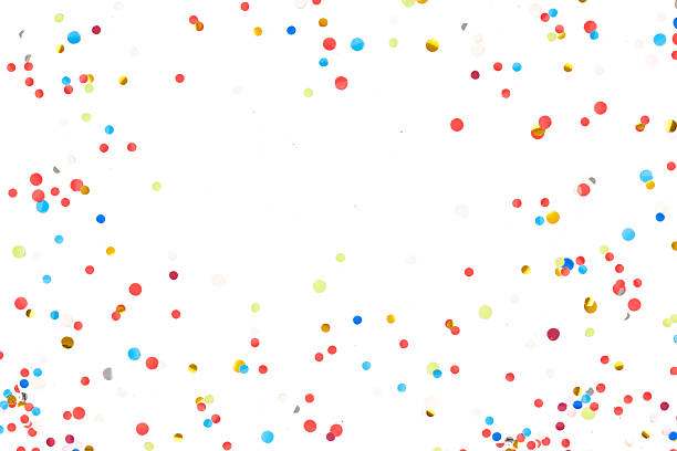 colorful confetti in front of white background - congratulations stock photos and pictures