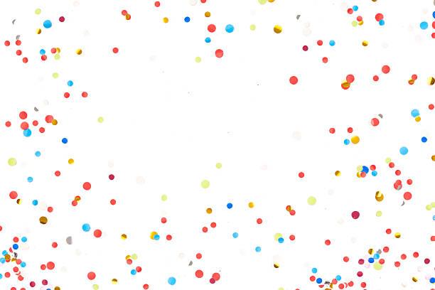 colorido confeti delante de un fondo blanco - agradecimiento fotografías e imágenes de stock