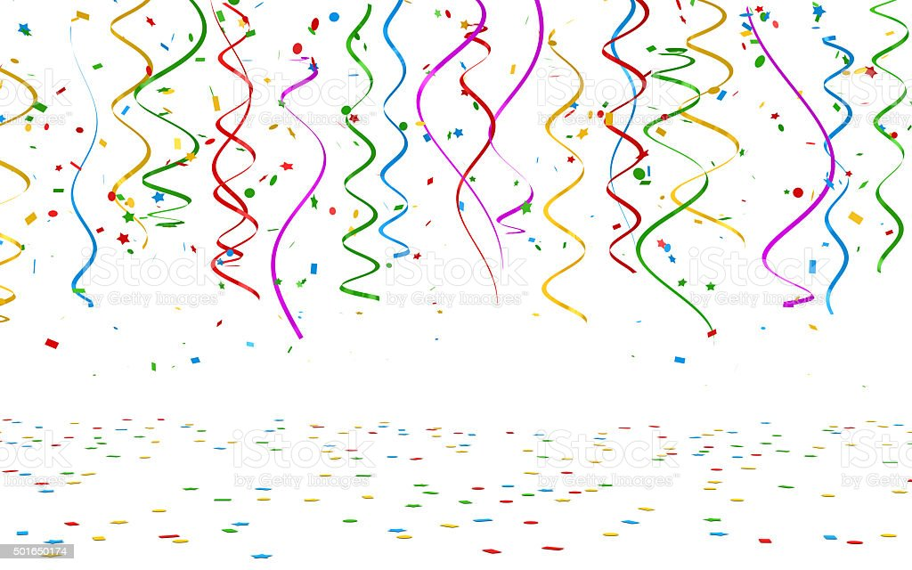 Colorful confetti on white background stock photo