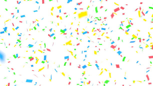 colorful confetti on white background - confetti stock pictures, royalty-free photos & images