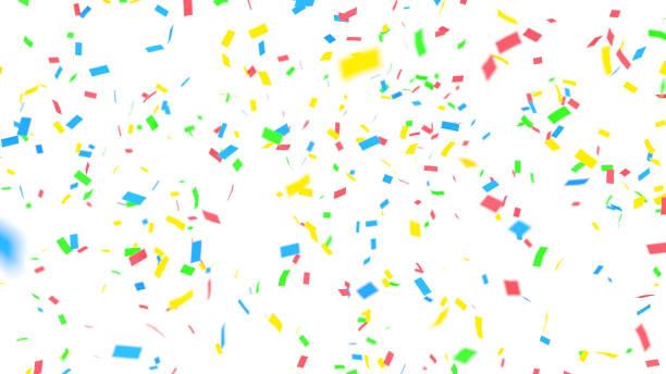 kleurrijke confetti op witte achtergrond - confetti stockfoto's en -beelden