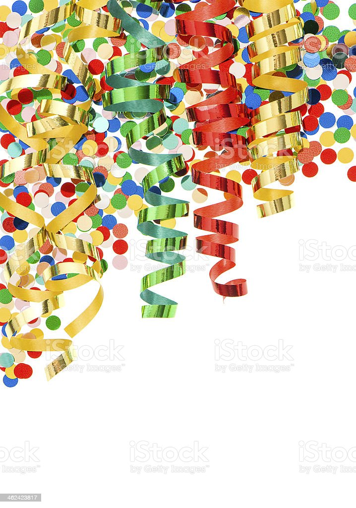 colorful confetti with shiny streamer over white stock photo