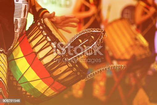 istock Colorful conga drum for party at camp 909291546