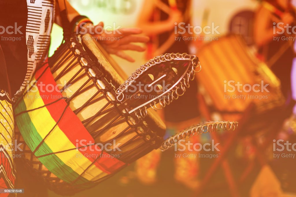 Colorful conga drum for party at camp stock photo