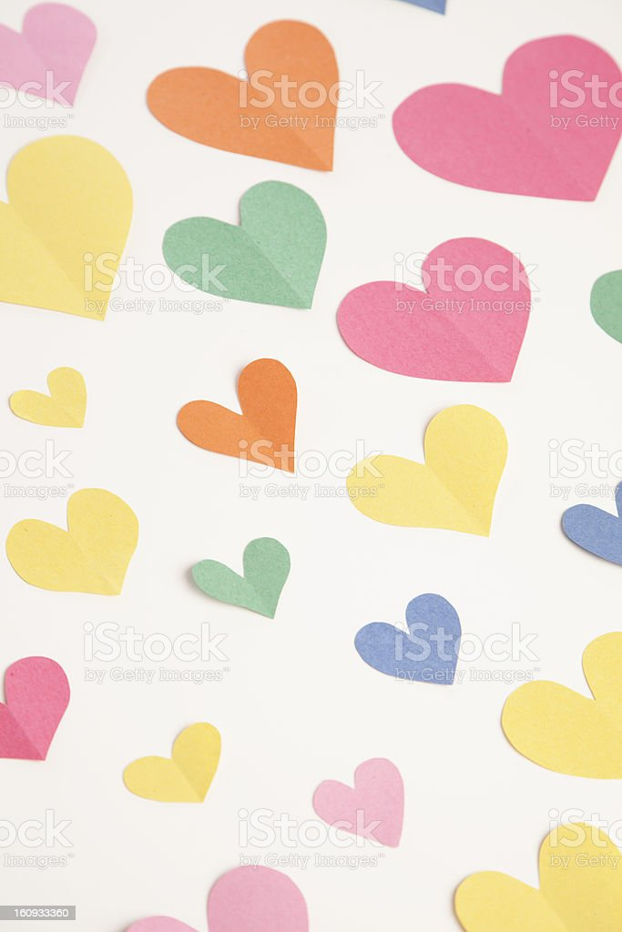 Colorful Construction Paper Hearts stock photo