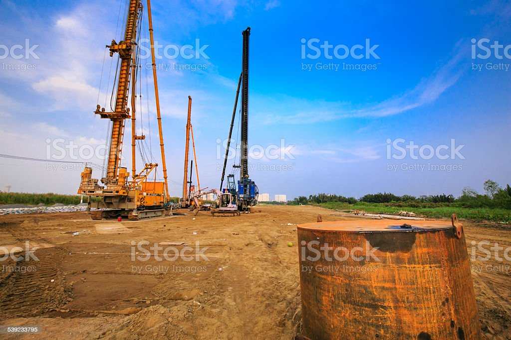 Colorful construction site on a sunny day royalty-free stock photo