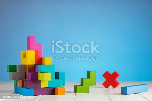 istock Colorful constructor, logic game, cubic mosaic. Design created by cubes. 841642694