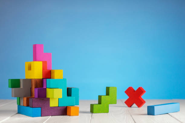 Colorful constructor, logic game, cubic mosaic. Design created by cubes. stock photo