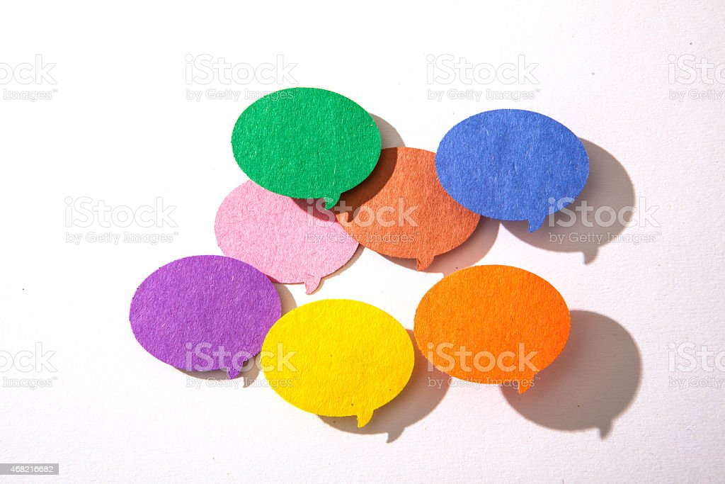 Colorful conversation bubbles on a white background. stock photo