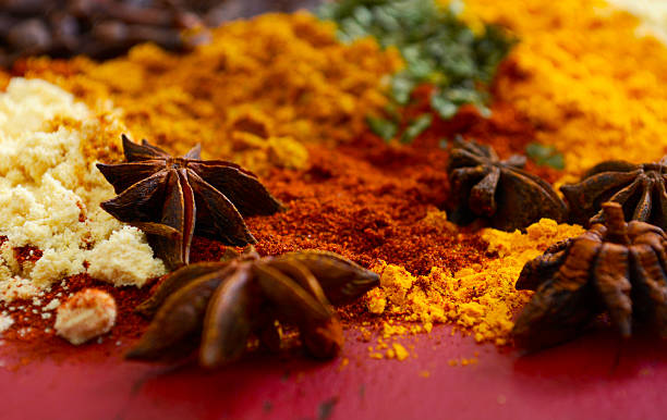 colorful cooking spices on wooden table - tarragon stock photos and pictures