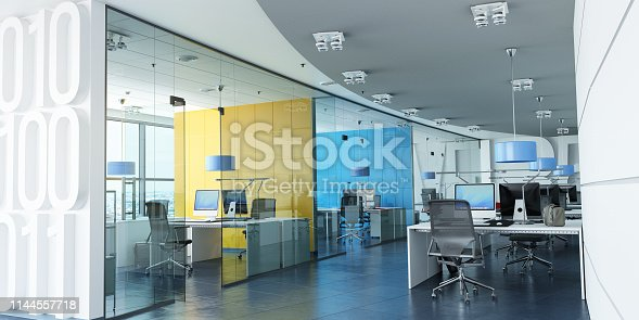 Very realistic 3D rendering of a modern corporate office in white, blue and yellow