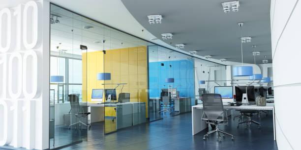 escritório corporativo colorido - arranha céu - fotografias e filmes do acervo