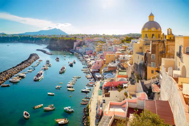 Colorful Corricella village on Procida island (Campania, Italy) stock photo
