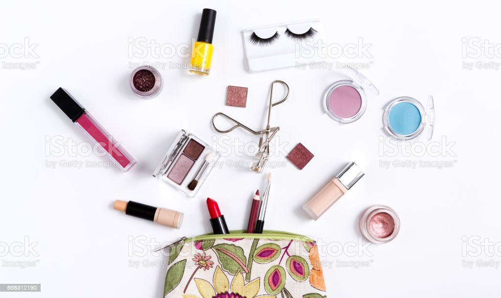 Colorful cosmetic bag on white background stock photo