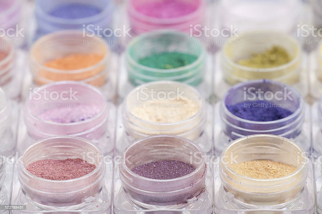 colorful cosmetic powder pigments royalty-free stock photo