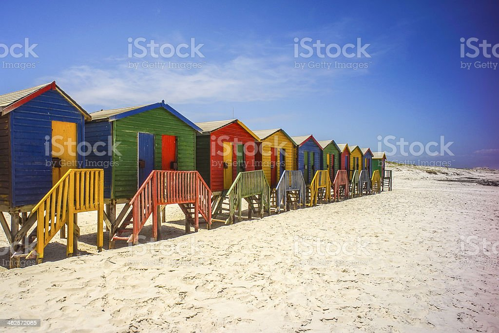 Colorful Cottage on White Sand Beach stock photo
