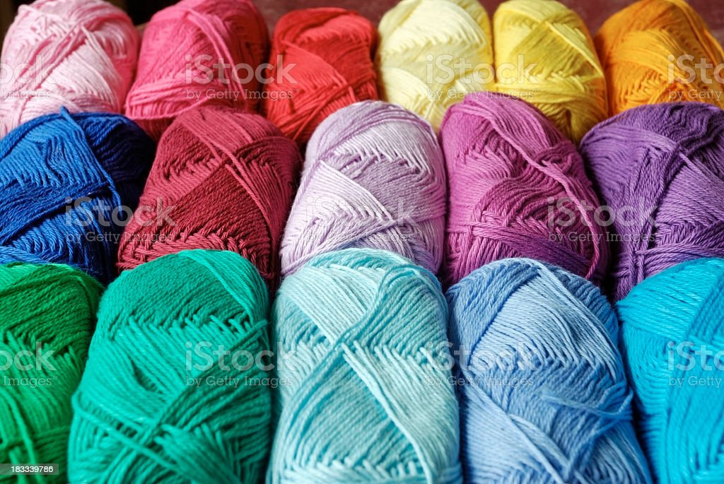 colorful cotton yarn balls royalty-free stock photo