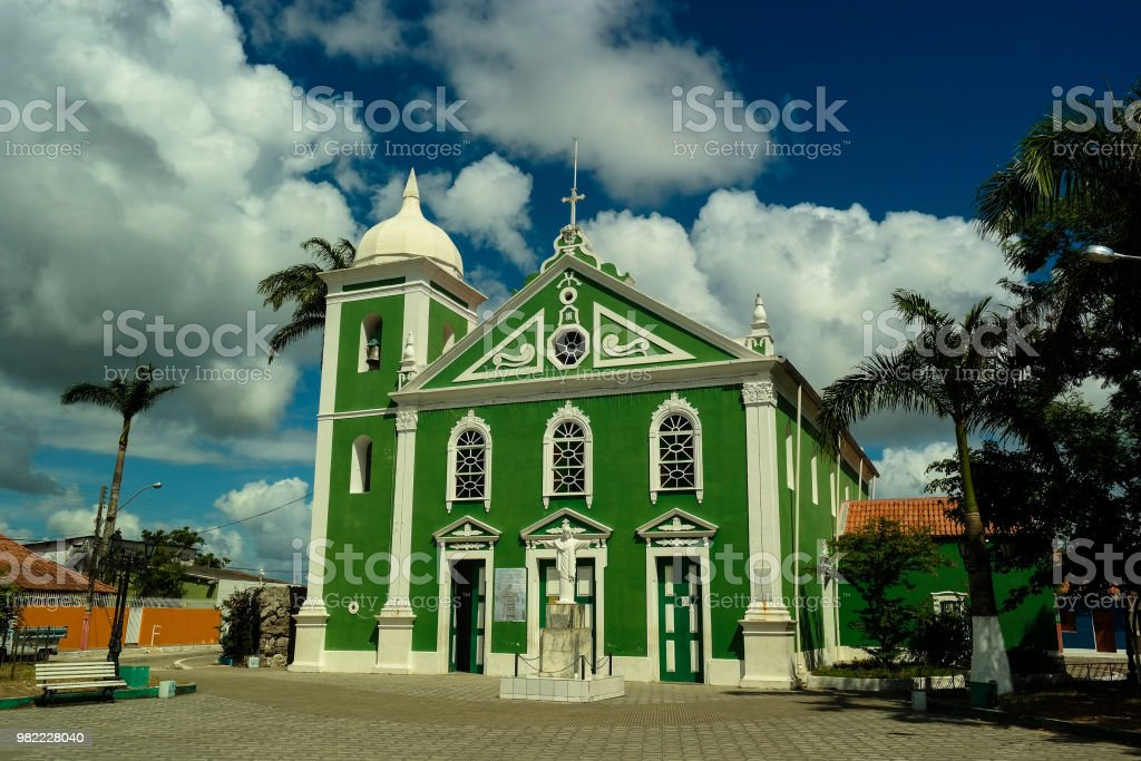 Colorful countryside church stock photo