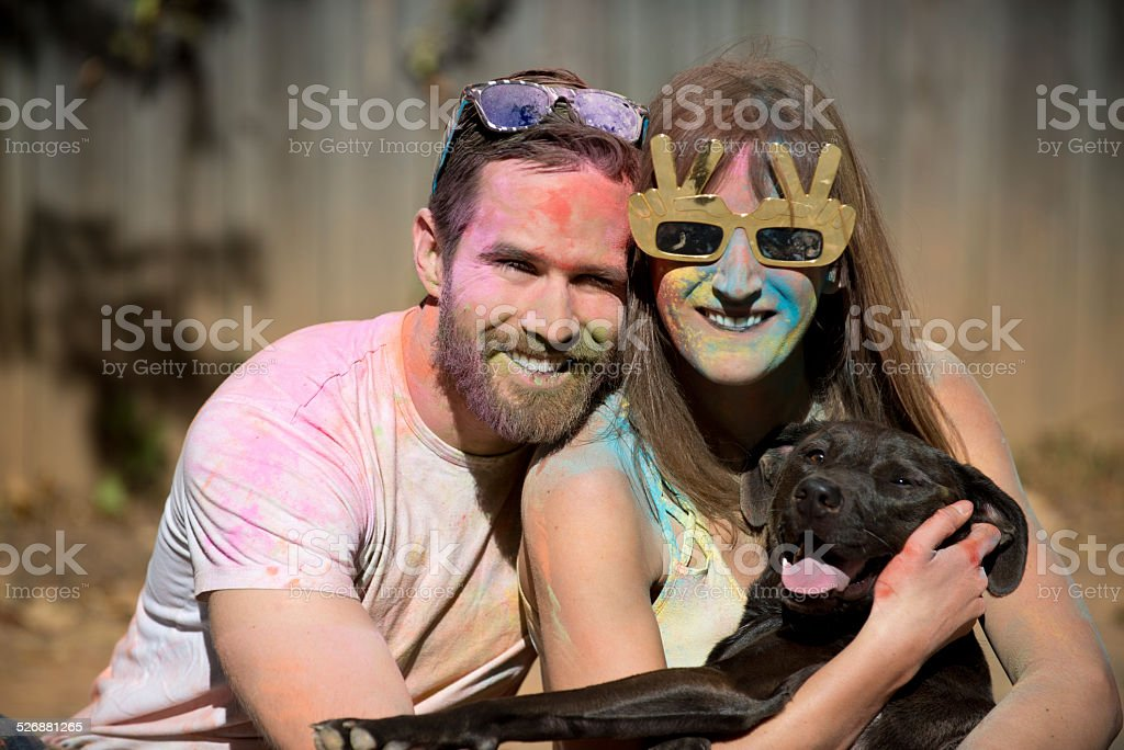 colorful couple stock photo