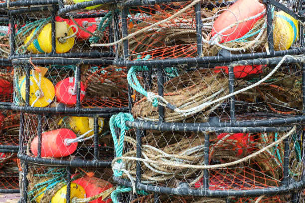 Colorful crab pots stock photo