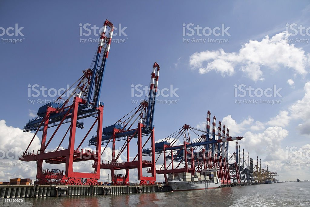 Colorful cranes in Bremerhaven, Gemany stock photo