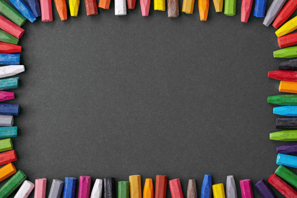colorful crayon background stock photo