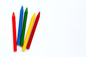 istock Colorful crayon on white background 1272230673