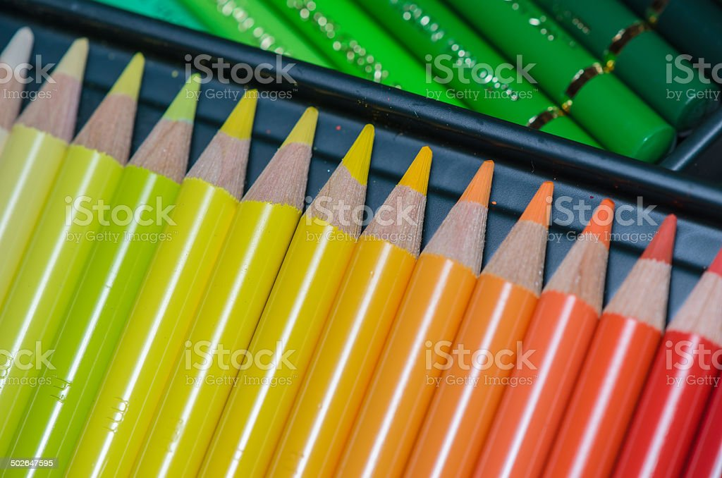 Colorful Crayons Assorted in a Box stock photo
