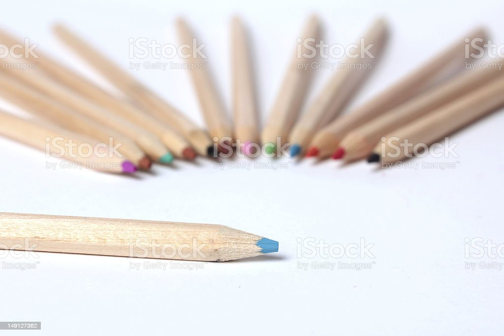 Colorful crayons in a row stock photo