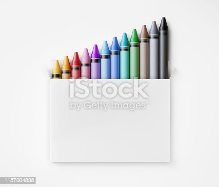 Colorful crayons pop up from a white box. Great use for art, education and back to school concepts.