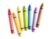 Colorful Crayons Scattered On White Background
