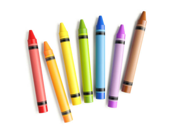 Colorful Crayons Scattered On White Background stock photo