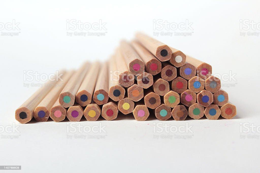 Colorful crayons studio isolated stock photo