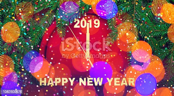 1049836902 istock photo Colorful creative Greeting card Happy New Year 2019 1082500876