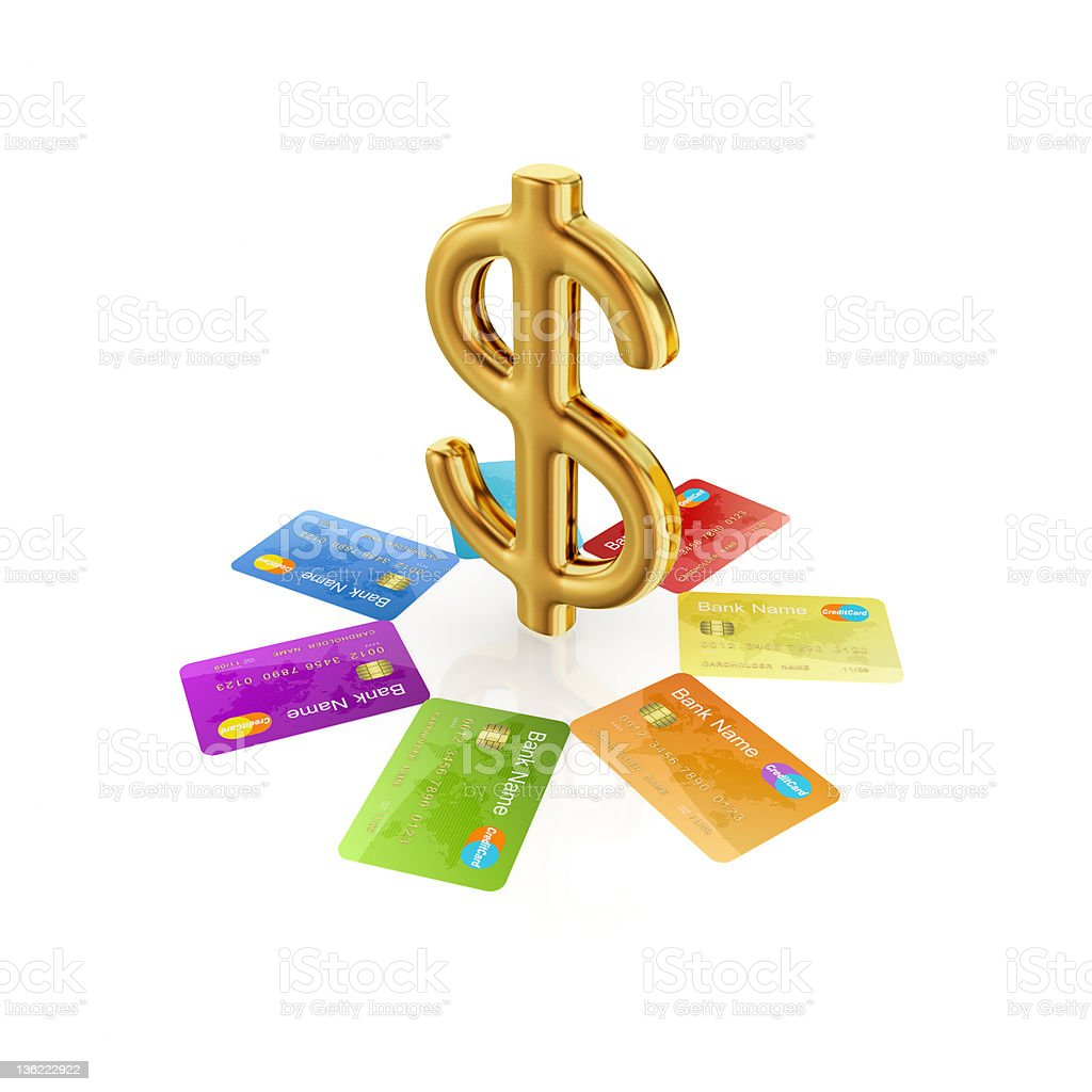 Colorful credit cards around golden dollar sign. royalty-free stock photo