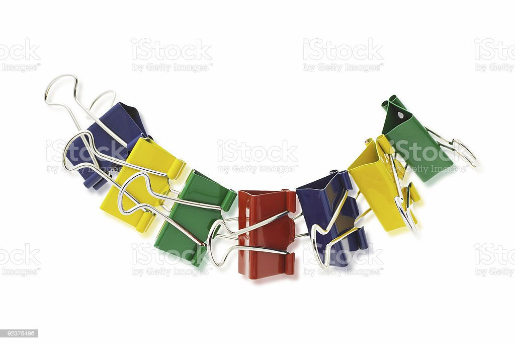 Colorful crocodile paper clips royalty-free stock photo