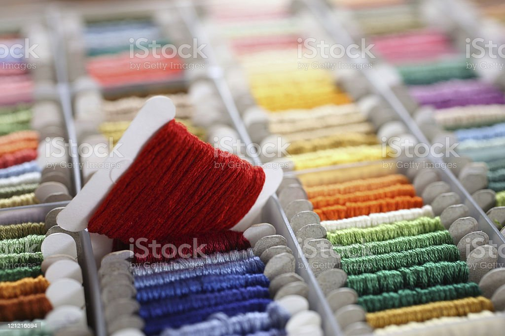 Colorful Cross-Stitch Threads royalty-free stock photo