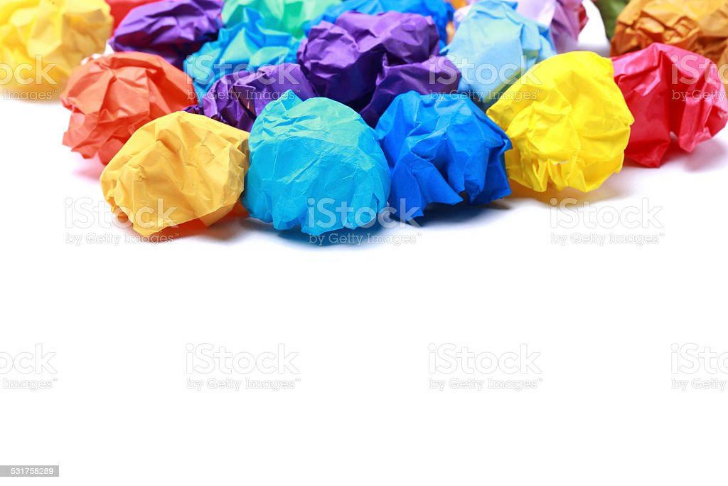 Colorful Crumpled Papers stock photo