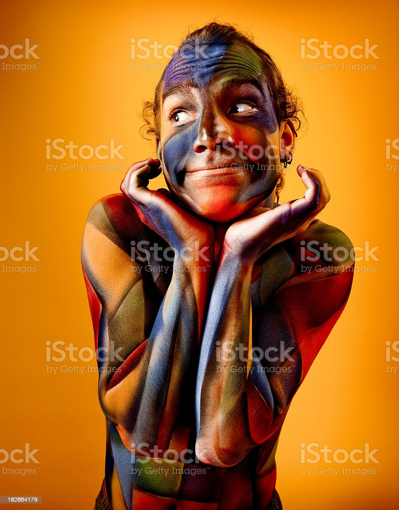 Colorful Cubism Body Paint royalty-free stock photo