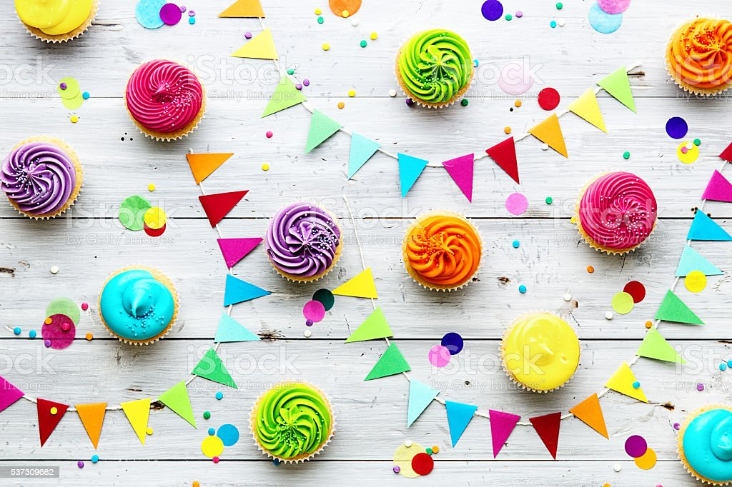 Colorful cupcake party background stock photo