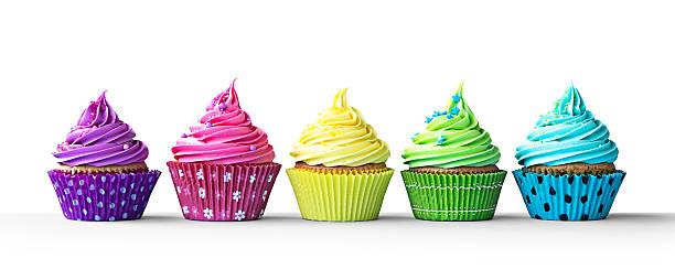 bunte cupcakes auf weiß - cupcake, zuckerguss stock-fotos und bilder