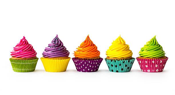 cupcakes colorido - bolo sobremesa imagens e fotografias de stock