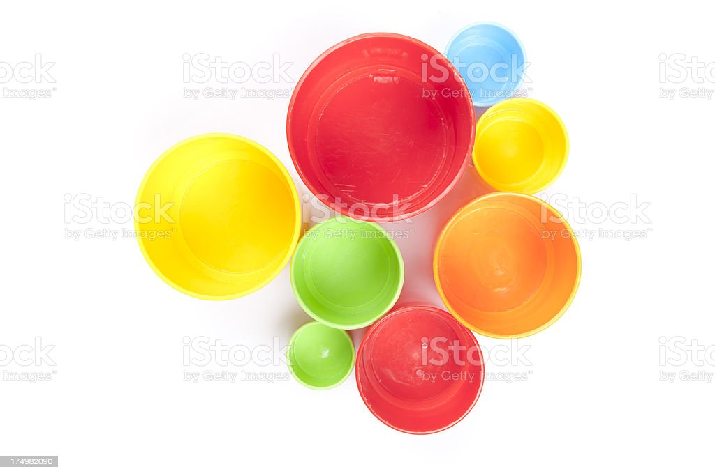 colorful cups on white paper royalty-free stock photo