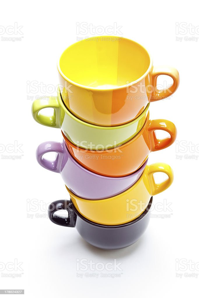 Colorful cups pyramid royalty-free stock photo