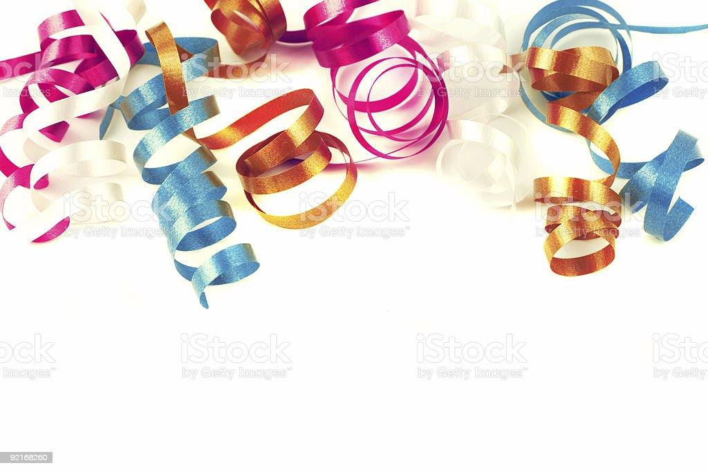 Colorful, curled ribbon on white background royalty-free stock photo