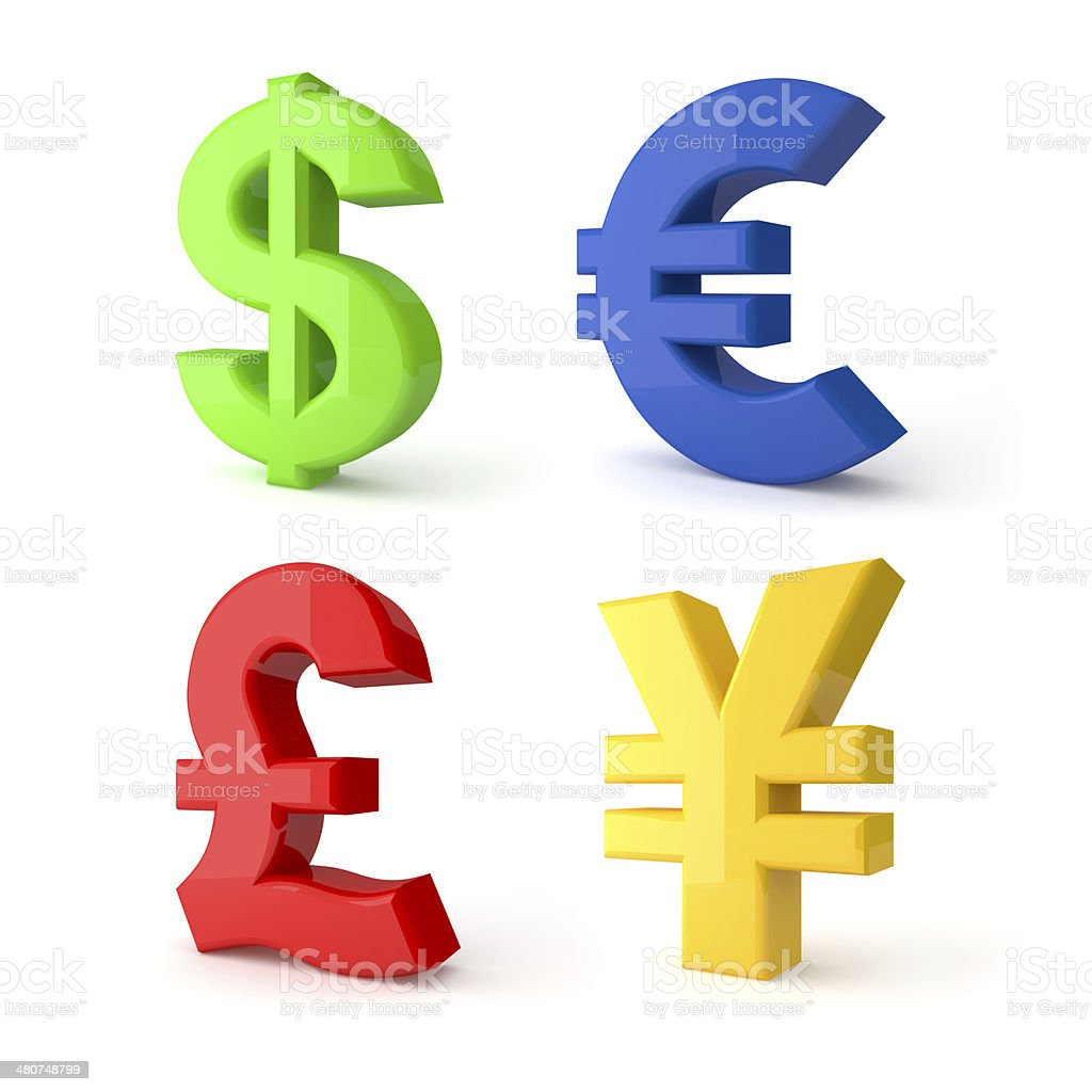 Colorful currency symbols. stock photo