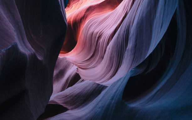 colorful curved walls of sandstone at antelope canyon - upper antelope canyon stock photos and pictures