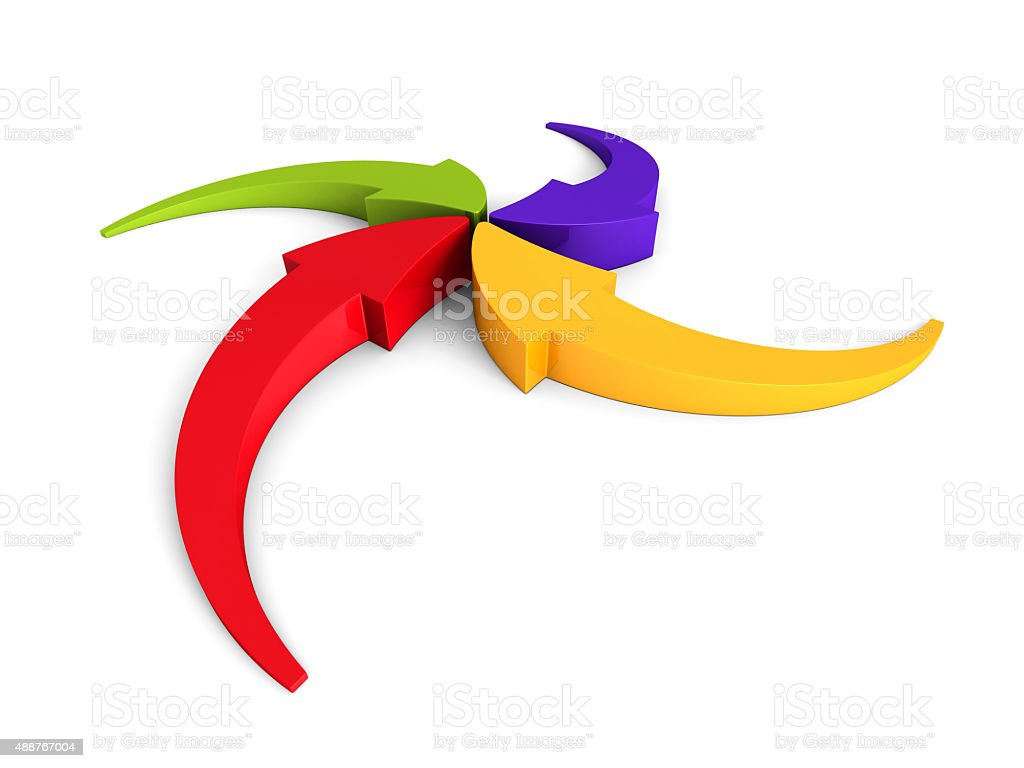 Colorful Curving Arrows Sweep Inward To Point At Center stock photo